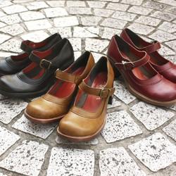 どこか懐かしいヒールシューズ(0594) 靴 日本製 国産素材 オリジナルシューズ 【受注生産:納期50日】