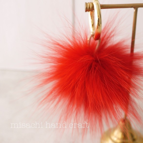f3e2275a02b652 フォックスファーポンポン【バッグチャーム・ファーチャーム・キーリング】color:Red(レッド・赤)