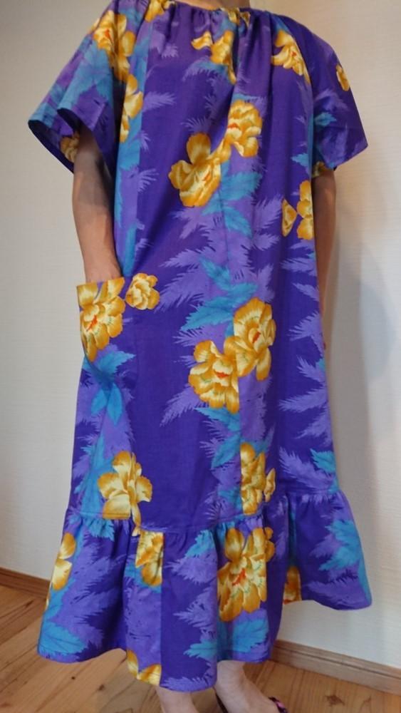4cce8f12c6d4 KENZO(ケンゾー)浴衣新反 半袖部屋着ワンピース紫ゆかた地×黄色花柄ルームウェアネグリジェ パジャマがわりに☆