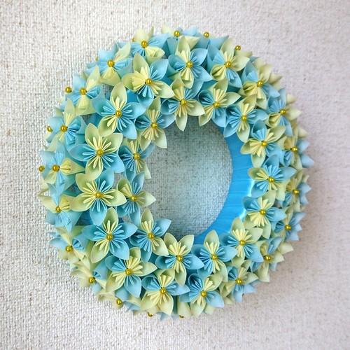 リース 折り紙 花