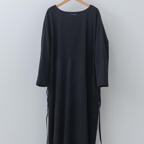 Boat Neck Onepiece(ボートネックワンピース:ちぢみ) 綿100% ブラック 【k47003】