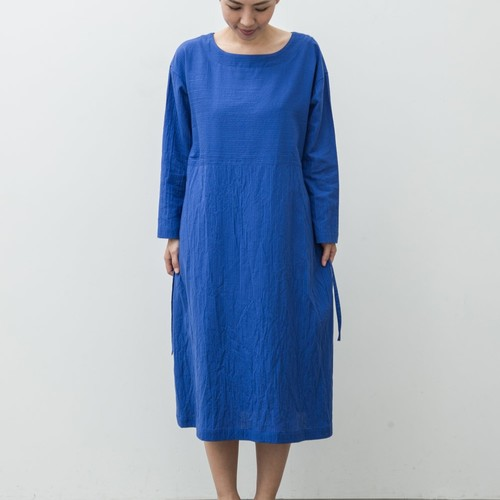 Boat Neck Onepiece(ボートネックワンピース:ちぢみ) 綿100% ロイヤルブルー 【k47003】