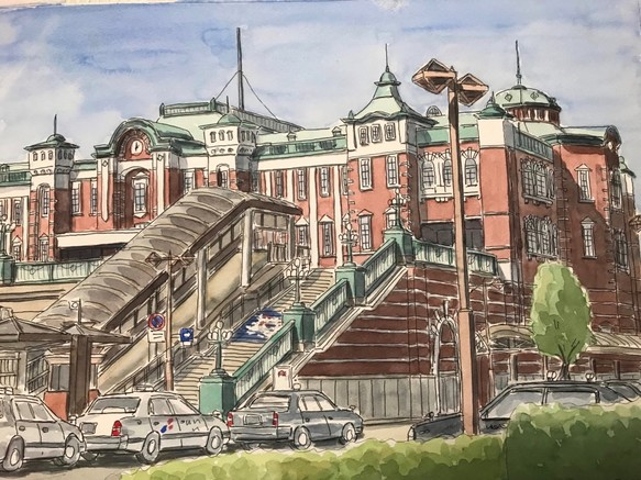【水彩画】記憶に残したい 建物 風景_180506