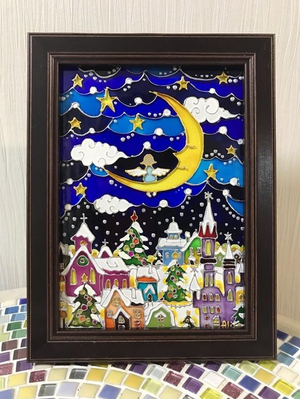ステンドグラス風ガラス絵 クリスマス前の夜 絵画 Alisah625 通販