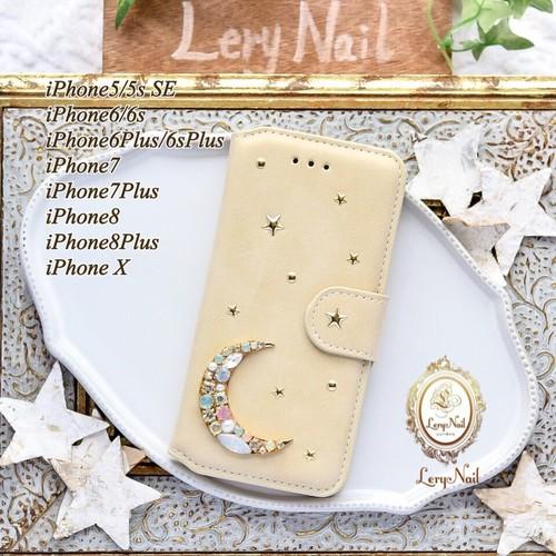 b384185c64 iPhoneXs・8対応【iPhone】パールビジューお月様オパールムーンスターが煌めく☆ホワイトベージュスエード調手帳