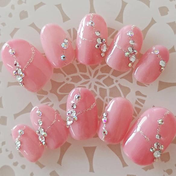 ピンクのラインデザイン/ネイルチップ/結婚式/前撮り/ブライダルネイル/付け爪/J165