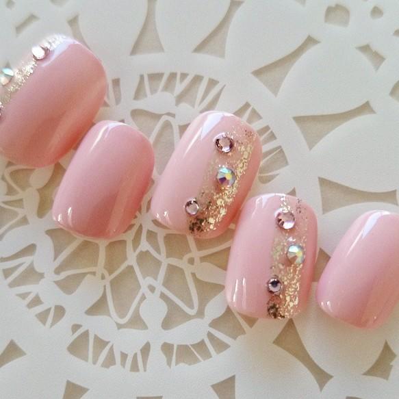 上品ピンク/ラメ/ストーン/和風/シンプル/可愛い/簡単ネイルチップ/短いネイル/付け爪/S35