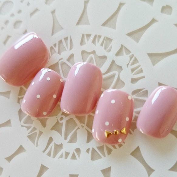 ピンク/ホロドット/りぼん/可愛い/オフィスネイル/デート/簡単ネイルチップ/パーティー/短いネイル/付け爪/S62