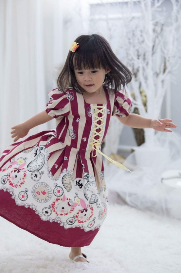36ef3958cb305 バニーガールロリータドレス(暗赤色) 子供服 Babylolita 通販|Creema ...