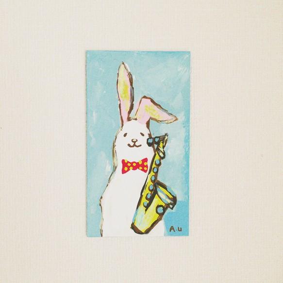 手描きアクリル画原画ウサギとテナーサックス イラスト Lucca Rocca