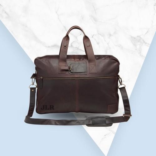 『受注製作』英国デザイン ヴィンテージマホガニー色 100%レザー ビジネスバッグ ホールドオール イニシャル無料