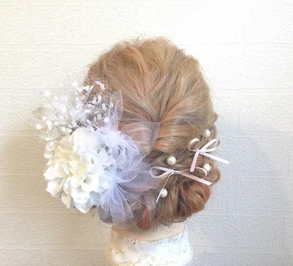 ふんわり可愛い ♡ チュール \u0026リボン のヘッドドレス 髪飾り 和装 洋装 ウェディング 成人式