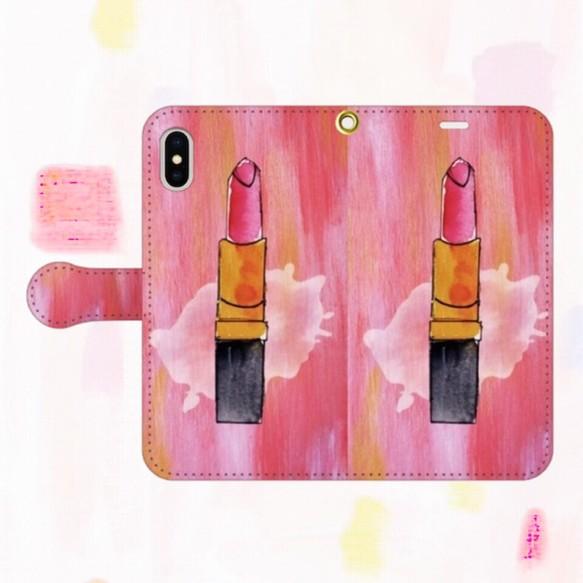 119caaa057 ルージュ アート柄 手帳型スマホケース オリジナルスマホケース ハンドメイド 【受注生産】