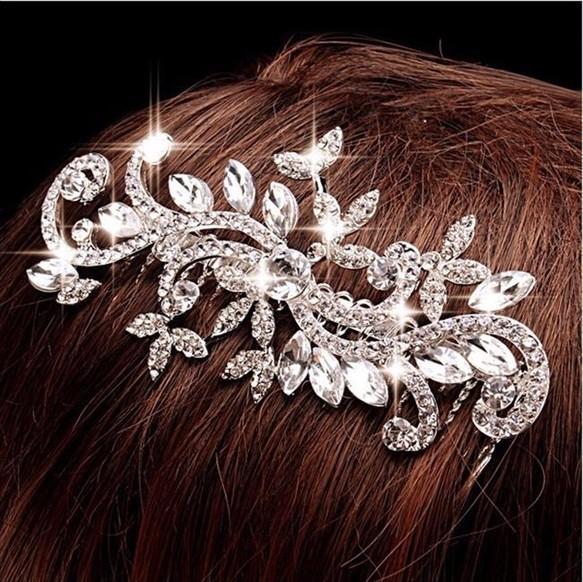 ヘッドドレス 髪飾り 花 フラワー リーフ キラキラ クリスタル コーム ヘアアクセサリー レディース 髪留め