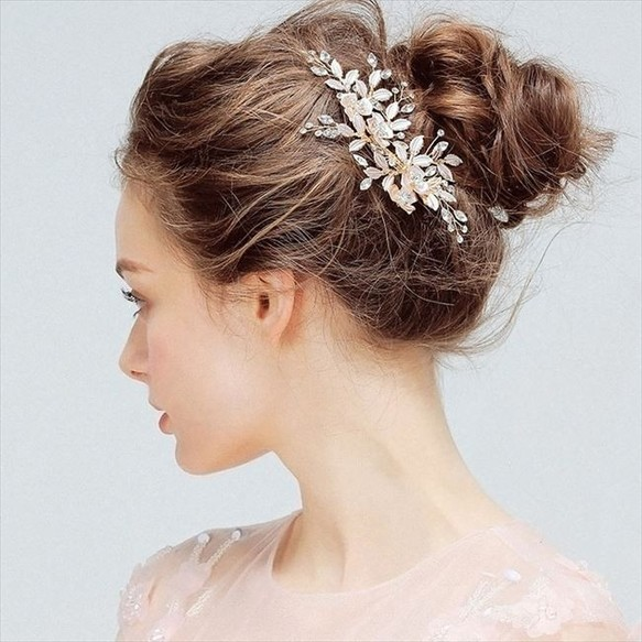 40813c96af9f9 ヘッドドレス ウェディング 髪飾り ゴールド フラワー リーフ クリスタル ヘアアクセサリー レディース 髪留め 花嫁