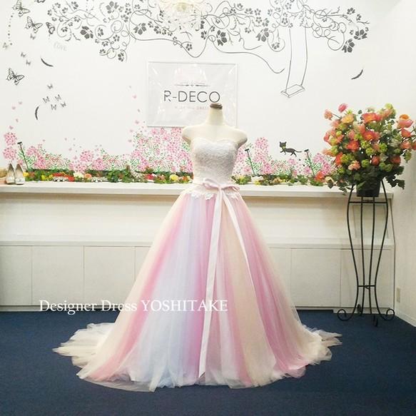 c5545239f7d8b ウエディングドレス(パニエ無料) レインボードレス 披露宴 二次会 ドレス ...