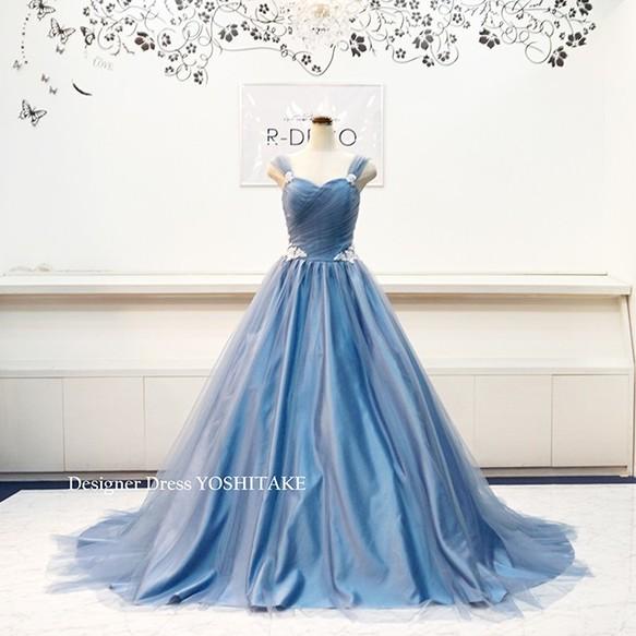 156630f013606 ウエディングドレス(パニエ無料) ブルーグレイチュールドレス 二次会 ...