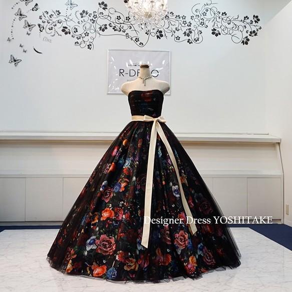 ec3dd2323fdef ウエディングドレス(パニエつき) 黒花柄&黒チュールドレス 披露宴 二次会ドレス ドレス r-deco