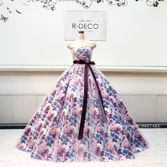 1c633b6742165 ウエディングドレス(パニエ無料) パープル花柄 白チュール 披露宴 二次会 ...