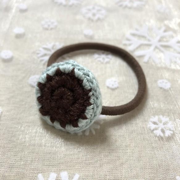 かぎ編み 毛糸 ツートンカラー ヘアゴム ヘアアクセサリー