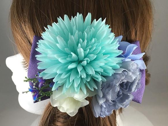 f1e6246b9c121 和風 花の髪飾り ターコイズブルーマム×和リボン 七五三 成人式 卒業式などの和装に