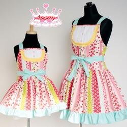 14b19b6ec1e20  大人用フリーサイズ 親子コーデエプロン プリンセスエプロン ポピー ピンク  日本製のかわいいお姫様エプロン!