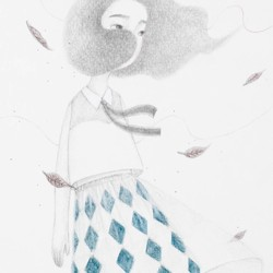 Linggeスカートガール手描きイラストポストカード 絵画 Yuanchi 通販