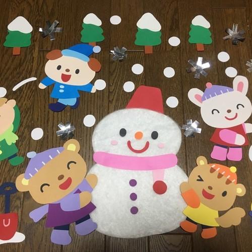 壁面 雪だるま ~壁面製作・おやつ作り~