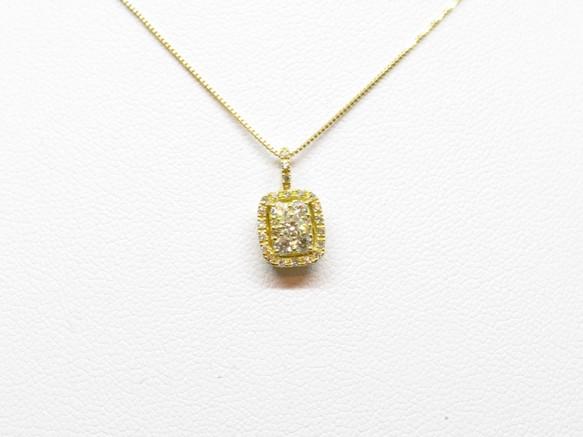 K18yg yellow diamond square pendantms k18yg yellow diamond square pendant mozeypictures Choice Image