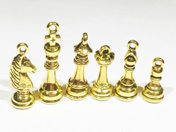 チェス駒チャーム ゴールド 6種6個セット♪ チャーム S&REN 素材