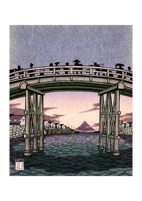 日本橋川の夕暮れ 江戸文化 日本橋 富士山 切り絵風 イラスト Kura