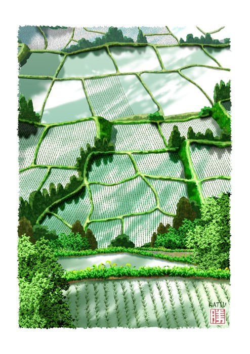 田植え 田んぼ 田植え 雲映る 実り 切り絵風 イラスト Kura Katsu