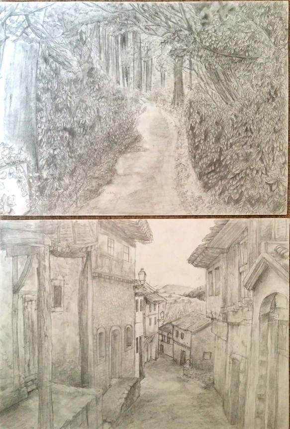 鉛筆風景画2枚セット イラスト シシカバsisikaba 通販creemaクリーマ