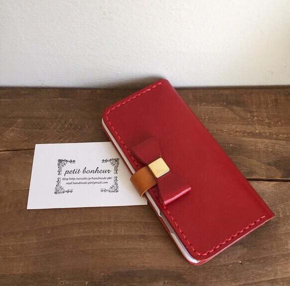 122b38e917 iPhone6ケース 手帳型 ワイドリボンフラップ 栃木レザー レッド iPhone ...