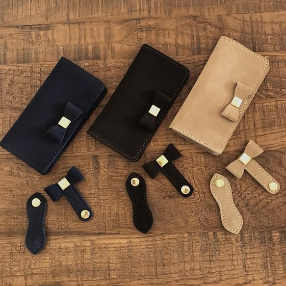 a4cffa6cb1 オーダー用 全機種対応 3段ポケット変更 英国スエード革 スーパーバック着せ替えリボンフラップのiPhoneケース
