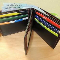 e5ab19670c4a 陰のデザインハンドメイドレザーグッズ - メンズクラシックレザールーズリーフ大容量2倍の短い財布 - 黒