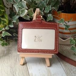 1834caa9afb8 陰デザイン手作りの革製品 - 野菜なめし革識別カードホルダー - 水平 - ラ鉄茶色 - ご注文へようこそ