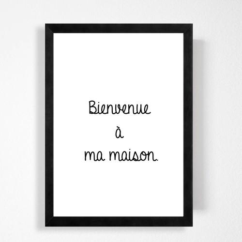 フランス語「ようこそ我が家へ」シンプルモノトーンが可愛いハンドメイド ポスター◇◆