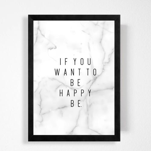 英文「幸せは自分でつかもう」大理石が可愛いシンプルハンドメイド ポスター◇◆