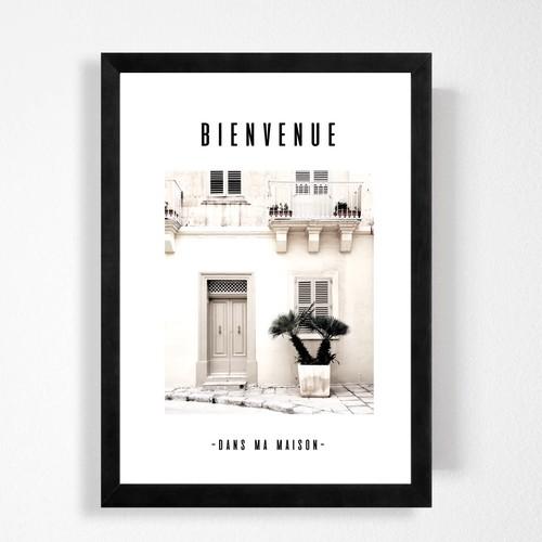 フランス語で「ようこそ私の家に」インテリアに合うシンプルハンドメイド ポスター◇◆