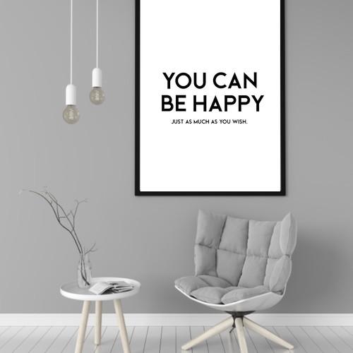 英文「幸せは人に与えた分だけ返ってくる」シンプルモノトーンなデザインが可愛いハンドメイド ポスター◇◆