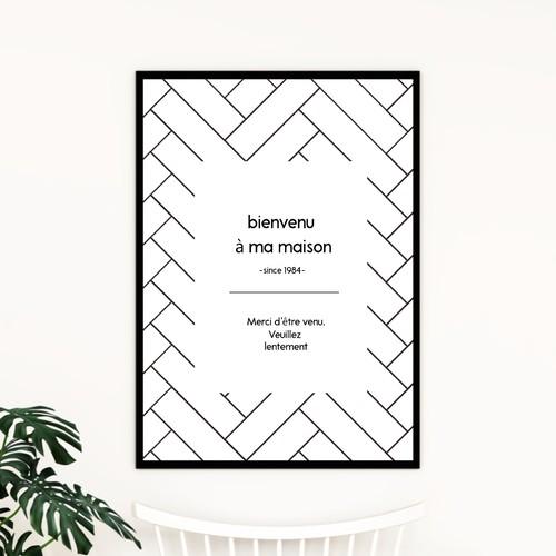 フランス語「ようこそ我が家へ、ゆっくりしていって下さい」ヘリンボーンとシンプルなデザインが可愛いウェルカムポスター◇◆
