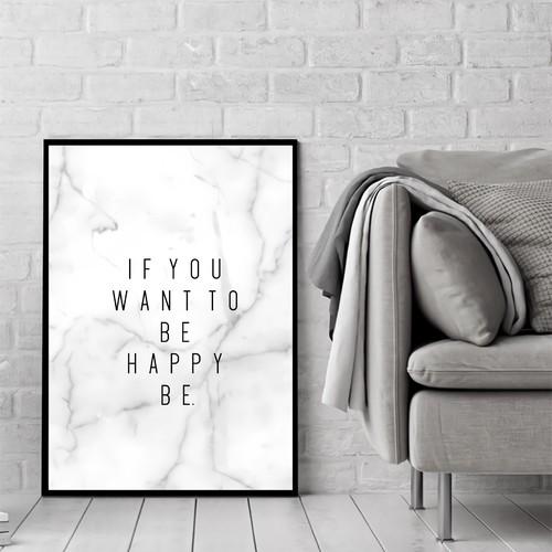 英文「幸せは自分でつかむもの」モノトーングレーのデザインがシンプルでインテリアに合うハンドメイド ポスター◆◇