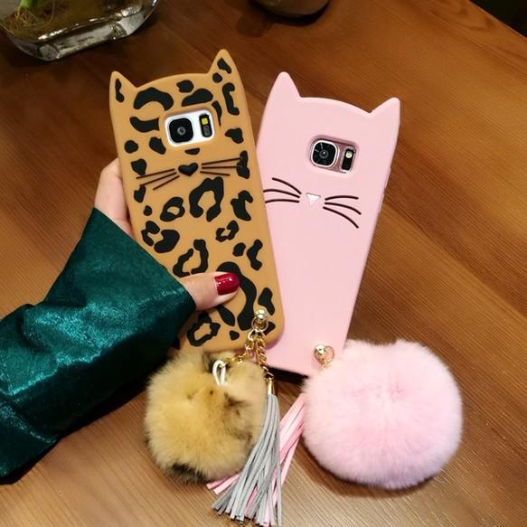 送料無料 Galaxy S8ケース 猫の耳 可愛い ギャラクシーS7edge/S6edgeケース ボンボン付き 新品発売 スマホケース・カバー  jpcasecase