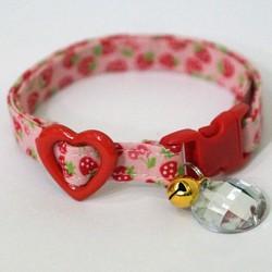 猫さん首輪・ピンクに赤いちご