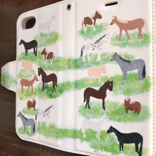 New 2019新作放牧 Iphone78手帳型ケース 競馬 馬 かわいい 競走馬