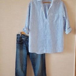 リネンスキッパーシャツ ブルーストライプ|シャツ・ブラウス|Mauve pink|ハンドメイド通販・販売のCreema