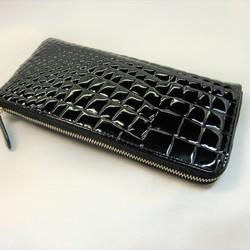 cfe9b6c50b0f 牛革型押しエナメルクロコⅬ字ファスナータイプの長財布です。(黒) 長財布 皮革館 通販|Creema(クリーマ)  ハンドメイド・手作り・クラフト作品の販売サイト