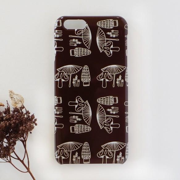 2aad57f32d *iPhone/Android* きのこ柄 チョコレートブラウン スマホケース スマホカバー ほぼ全機種対応