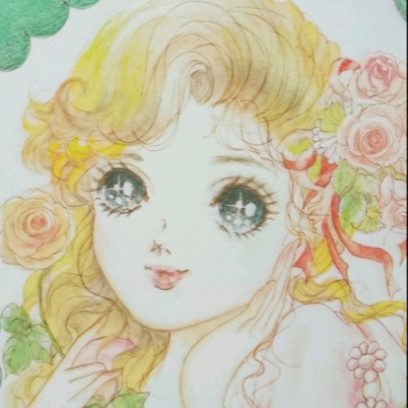 複製きらめく瞳 少女a4昭和レトロ少女マンガイラストお花